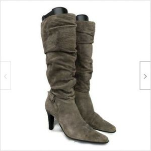 Bass suede grey tall knee high slouch boots